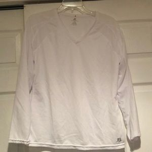 ✨RUSSELL White Poly Long Sleeve Tee
